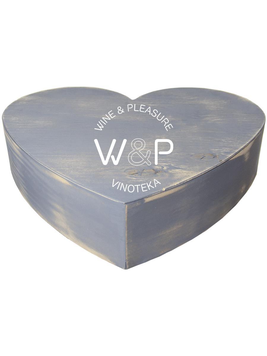 Drvena Kutija u Obliku Srca - Siva