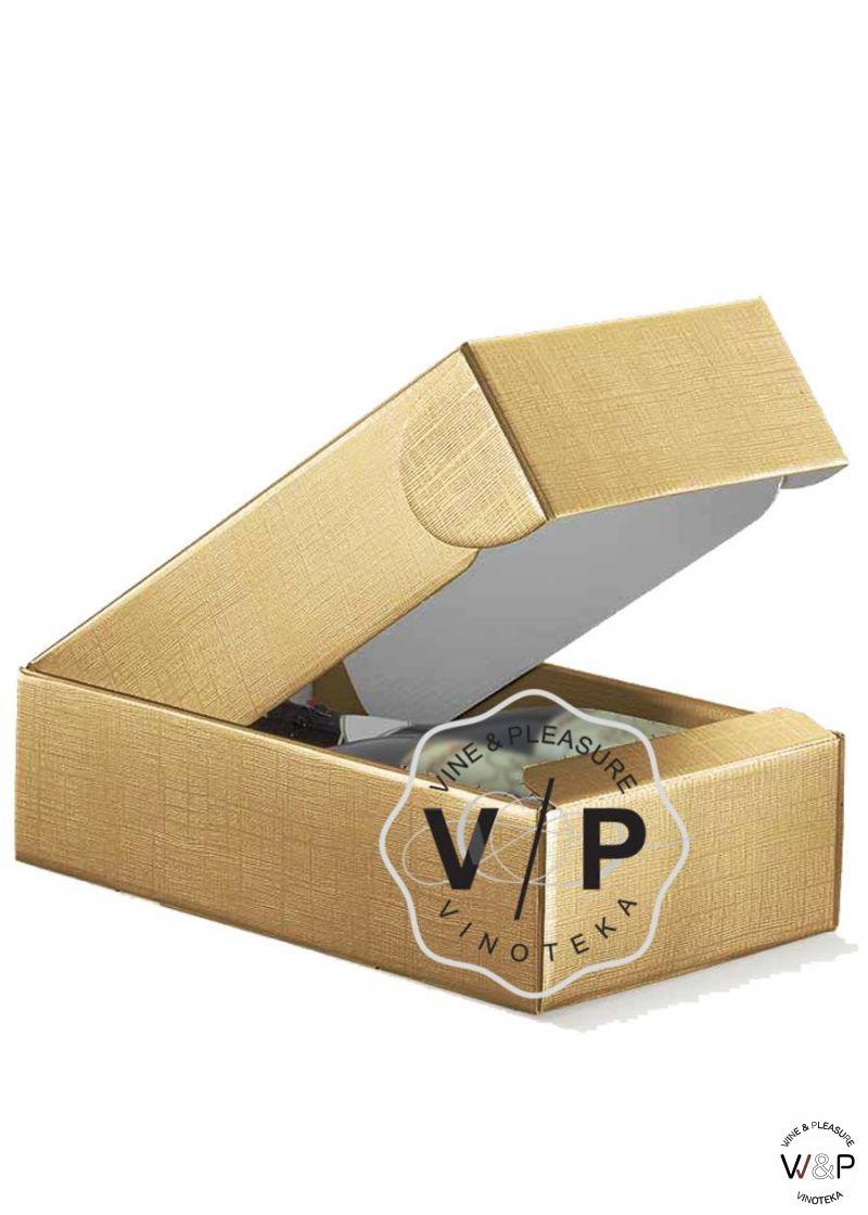 Kutija Kartonska Za 2 Boce Zlatna-1041