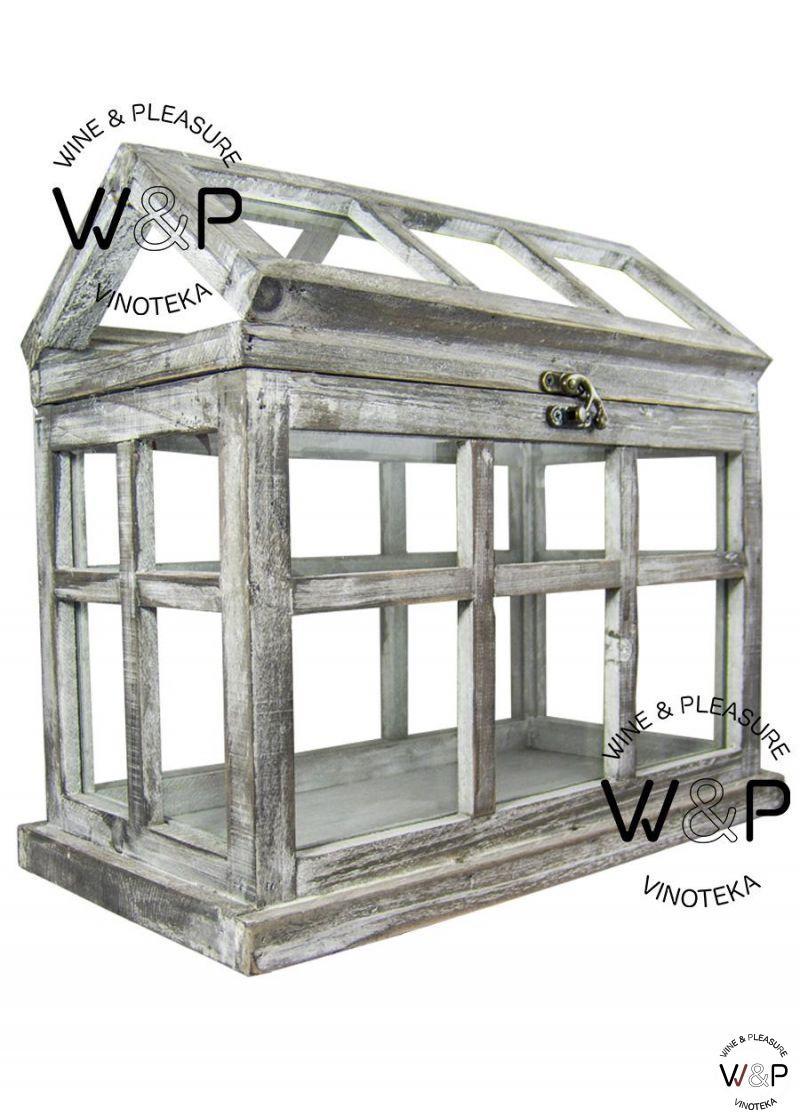 Drvena kućica staklo siva - veća